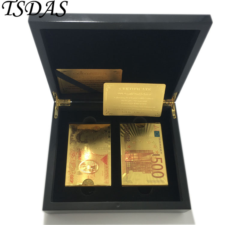 2pcs UK 50 Pound & Euro 500 Gold Playing Card Pure 24k Gold Foil Poker Waterproof Cards with Certificate and Nice Wooden Box