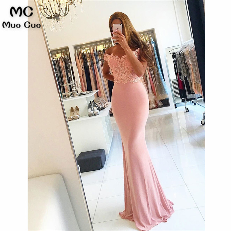 2018 Mermaid Off Shoulder   Bridesmaid     Dresses   Long Formal Wedding Party   Dress   Short Sleeve Button Zipper Women   Bridesmaid     Dress