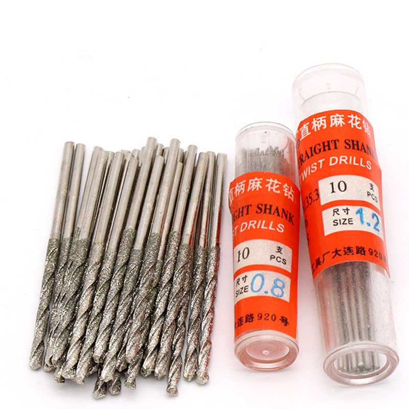 10pc/lot Crystal Glass Jade Jewelry Polishing Diamond Coated Twist Drill Bit Set Drill Fine Diamond Needle Twist Drill Bits