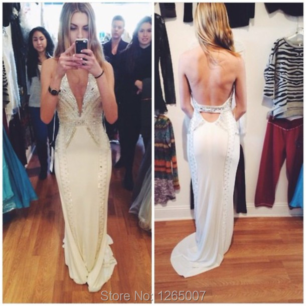 67f1f9b8 Sexy Fashion Halter Open Back Sparkly Beaded Diamond Backless Mermaid Prom Dresses  Gown 2016 White Formal Fornal Maxi Dress