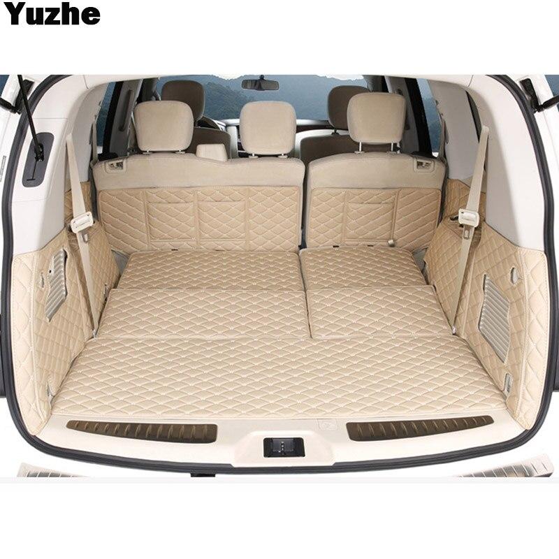 Yuzhe Custom car trunk mat For nissan patrol y62 2014 2016 Cargo Liner Interior Accessories Carpet car styling car interior mats for nissan patrol y62 2012 2018 7seats anti duty pads waterproof carpet mats for patrol y62 2017
