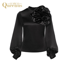 Queenus Autumn Women Blouses Stand Collar Long Sleeve Pleated Appliques Women Tops Elegant Lady Black Casual Women Shirts