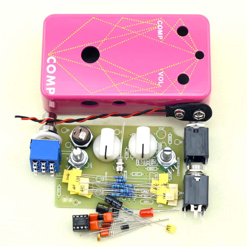 US $23 2 |DIY Compressor Guitar Effect pedal All Kits True Bypass pedal  aluminum pink box kit-in Guitar Parts & Accessories from Sports &