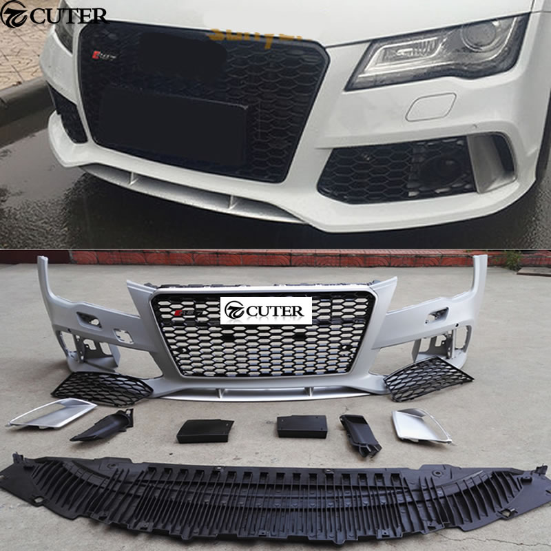 A7 To RS7 PP Unpainted Auto Front Bumper Rear Lip Side