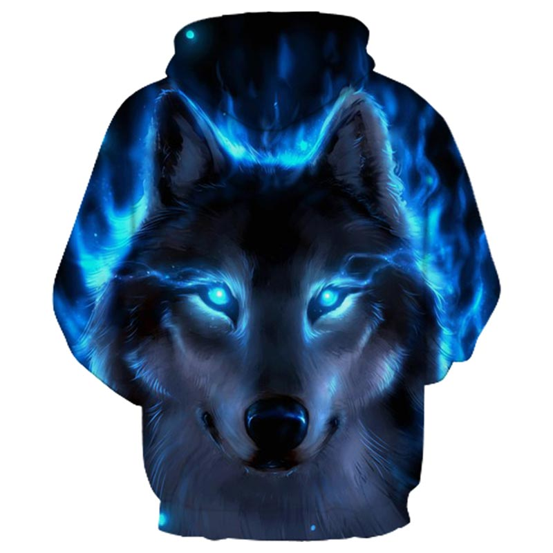 Blue Fire Wolf 3d Hoodies  1