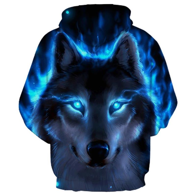 Blue Fire Wolf 3d Hoodies  1