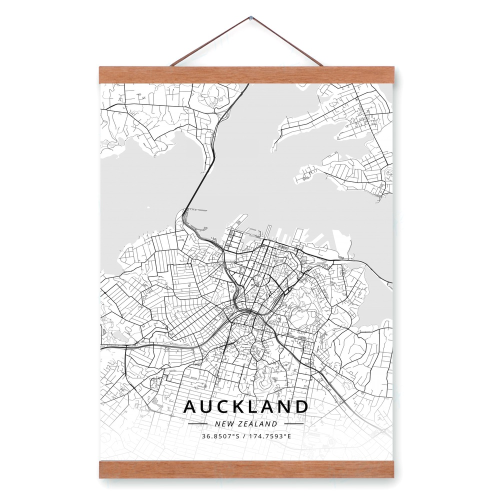 City Map Of New Zealand.Us 12 02 32 Off Auckland New Zealand City Map Wooden Framed Canvas Painting Home Decor Wall Art Print Pictures Poster Hanger In Painting