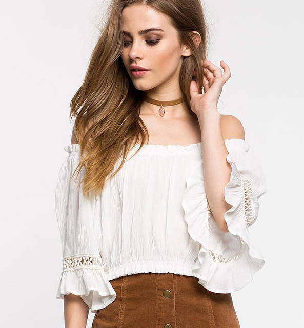 a5385864898 Women Clothing Ruffle Off Shoulder Tops Beach Summer Blusas Solid Blouse  Slash Neck Loose half Sleeve Sexy Crop Top Shirts