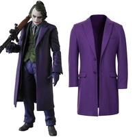 New Batman Dark Knight Rise Joker Cosplay Outfits Outwear Purple Jacket Pants Movie Cosplay Costume Suit Halloween Cosplay Props
