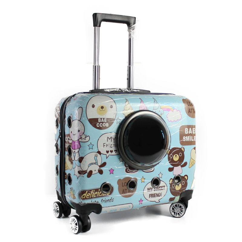 Fashion Small Animal Pet luggage on wheels dog Cat Carrier Travel Tote Trolley Bags for Dogs Stroller pet carrier bag for cat dog fully enclosed small size camel
