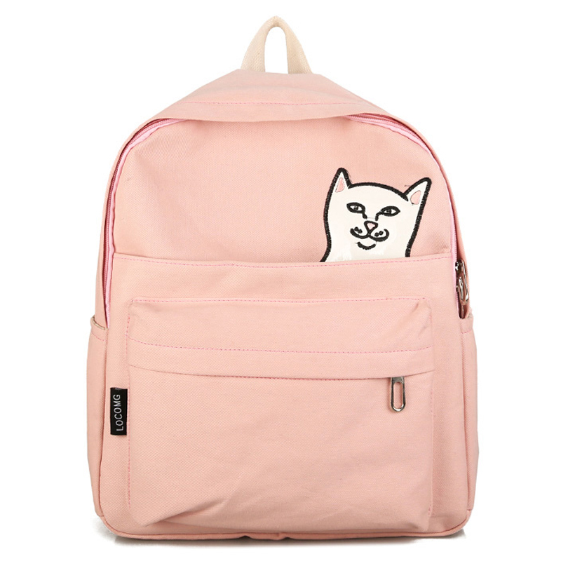 DCIMOR Waterproof Canvas Backpacks female College Student Travel Backpack Bag Lovely cat embroidery Women Backpack School Bags