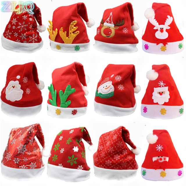 44e9c4fbf1be6 ZLJQ 10pcs lot Colorful Christmas Santa Hat Creative Christmas Party  Event party Decoration Supplies Random Delivery