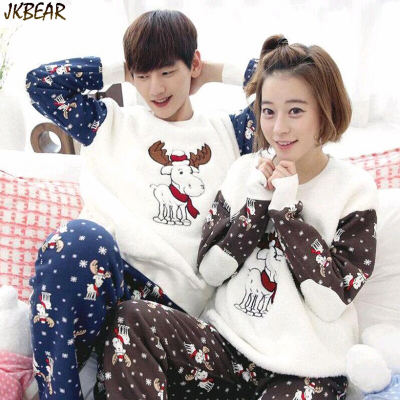 cute matching christmas pjs with moose reindeer pattern plus size warm flannel pajamas for couples m xxl in pajama sets from mens clothing accessories on