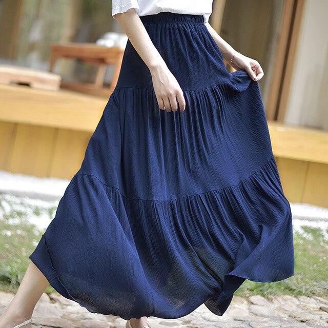2018 Bohemian Women Stretch High Waist Solid Long Cotton Skirts Womens Boho Maxi Skirt Saia Longa Faldas Women Long Skirt