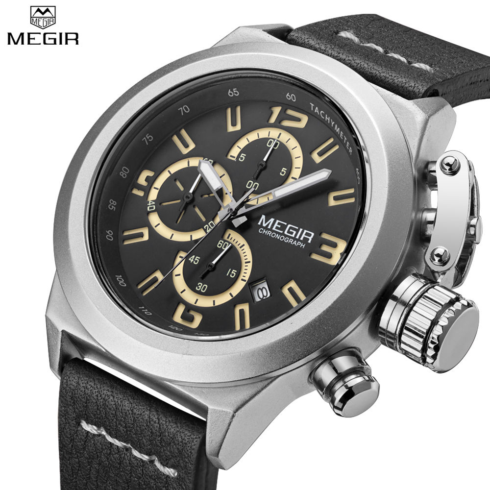 MEGIR Men New Style Chronograph Multifunction Waterproof Quartz Wristwatches