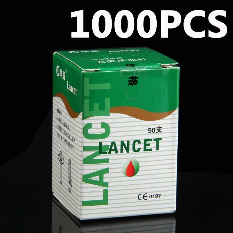 1000 pcs 28G Lancets Sterile disposable phlebotomy spilled blood needle pen one time collector sterile phlebotomy collection needle 50 28g blood glucose injection security lock cassette