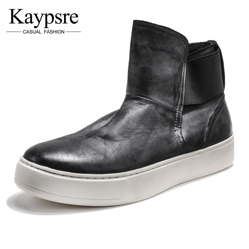 Kaypsre Winter Men 's cow leather High Bang Shoes Fashion Casual Breathable Men' s Shoes 2017 new spring imported leather men s shoes white eather shoes breathable sneaker fashion men casual shoes