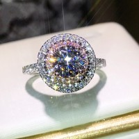 2017 New Women Fashion Genuine 925 Sterling Silver Ring Diamonique AAAAA Pink Cz Engagement Wedding Band