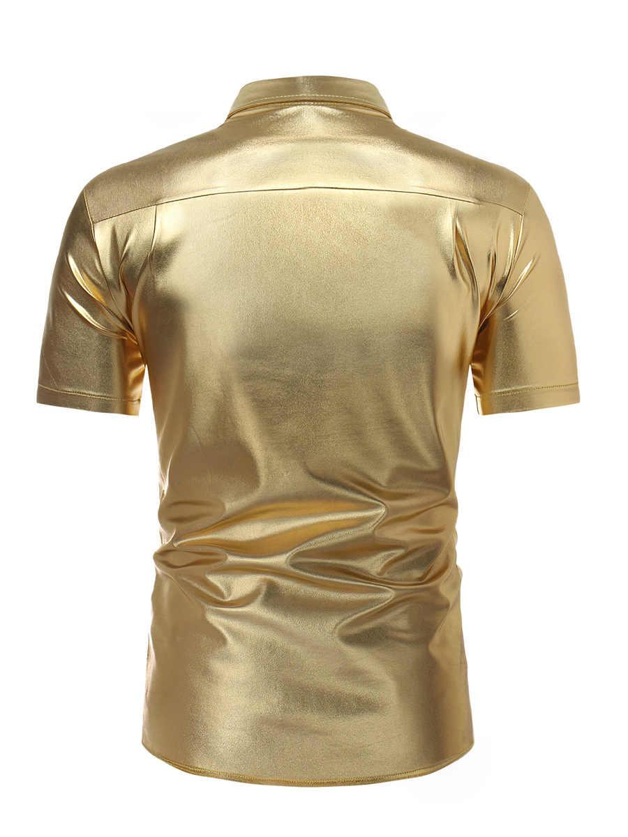 Camisa metálica revestida de oro brillante 2018 camisa de manga corta de moda para hombre camisa de fiesta para club nocturno camisas ajustada de Hip Hop Chemise homme