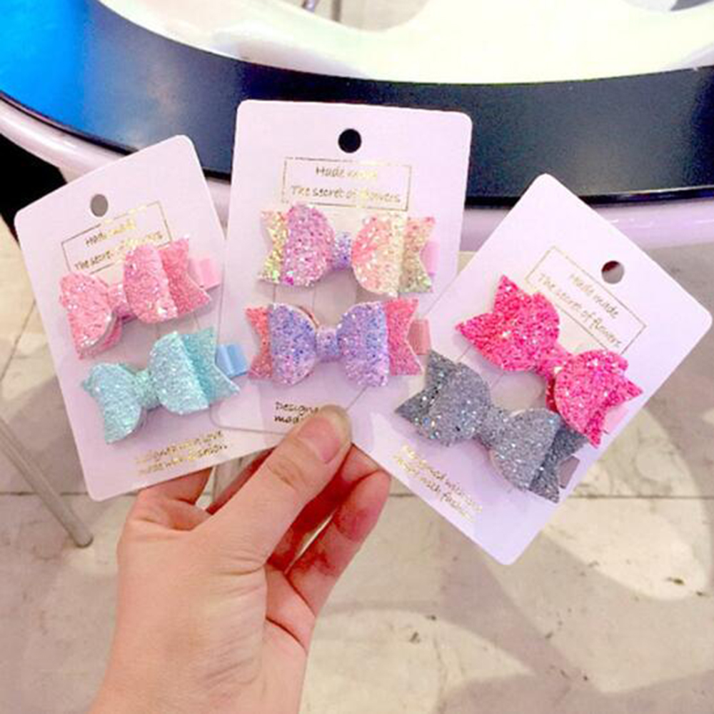 2pcs/set Cute Mini Little Girls Hair Bows Clips Double Layer Glitter Kids Hairpins Sequins Princess Headdress Accessories