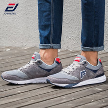 FANDEI retro classic running shoes for men winter walking sneakers suede leather mesh lace up outdoor Athletic sport shoes men