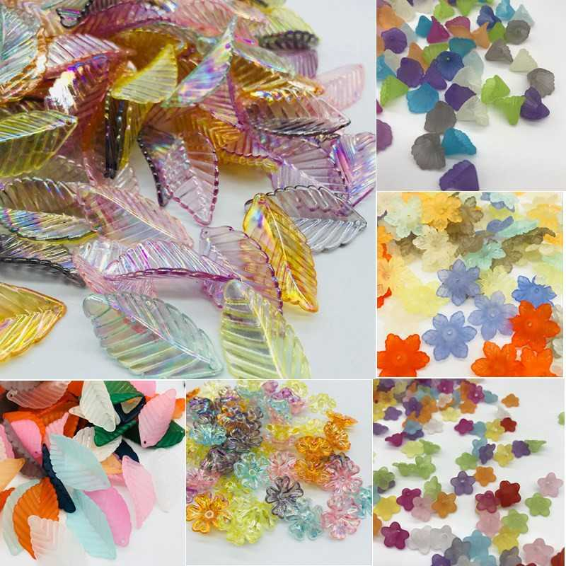 30-100Pcs/Lot Cheap Hot Flower Acrylic Beads Candy Color Acrylic Spacer Beads DIY For Necklace Matte Hairpin Jewelry Accessoires