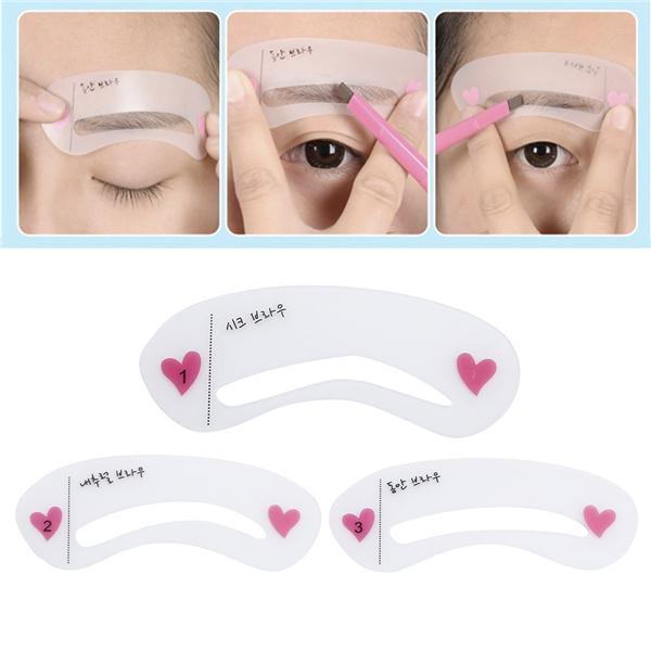 3 Styles Of Eyebrow DIY Makeup Eyebrow Stencils Drawing Gguide Card Professional Eyebrow Template Eyebrow Beauty Tools For Women 2