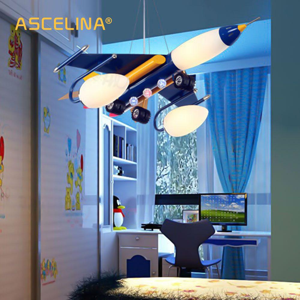 ASCELINA l'aereo lampada a sospensione per la camera da letto per bambini Ape Luce Del Pendente Del Fumetto paralume Moderno aereo Bambini Luci notturne