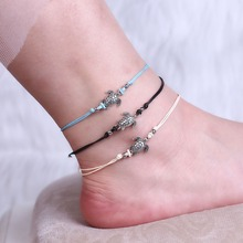 RINHOO  Ancient silver turtle wax rope anklet simple turtle shape beach anklet For women 2019 new charm anklet Foot Jewelry stylish coin shape tassels anklet for women