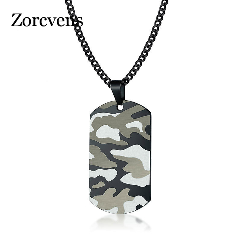 ZORCVENS Cool Camouflage Dog Tag Necklace for Men Stainless Steel Soldier Army Male Pendant Collar Jewelry gold earrings for women