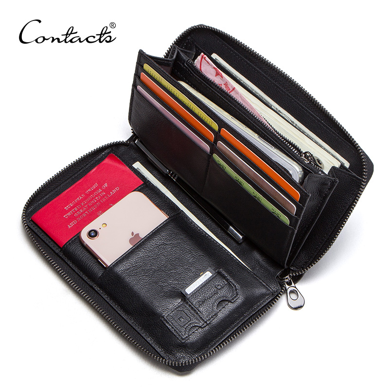 CONTACT'S 2019 Genuine Leather Men Clutch For 6.5