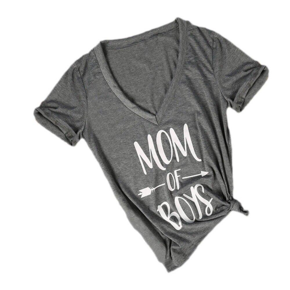 2018 модная футболка Для женщин Топы корректирующие мама для мальчика с буквенным принтом Футболка женская Повседневное v-образным вырезом ф...