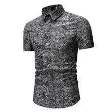 Mens Dress Shirts Casual Short Sleeve Flower Blouse Men New model Blue Gray