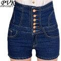 2016 mujeres Del Verano pantalones cortos de cintura alta Pantalones Cortos de mezclilla de las mujeres pantalones cortos de cintura más el tamaño del estilo Americano Europeo femenino cortocircuitos ocasionales