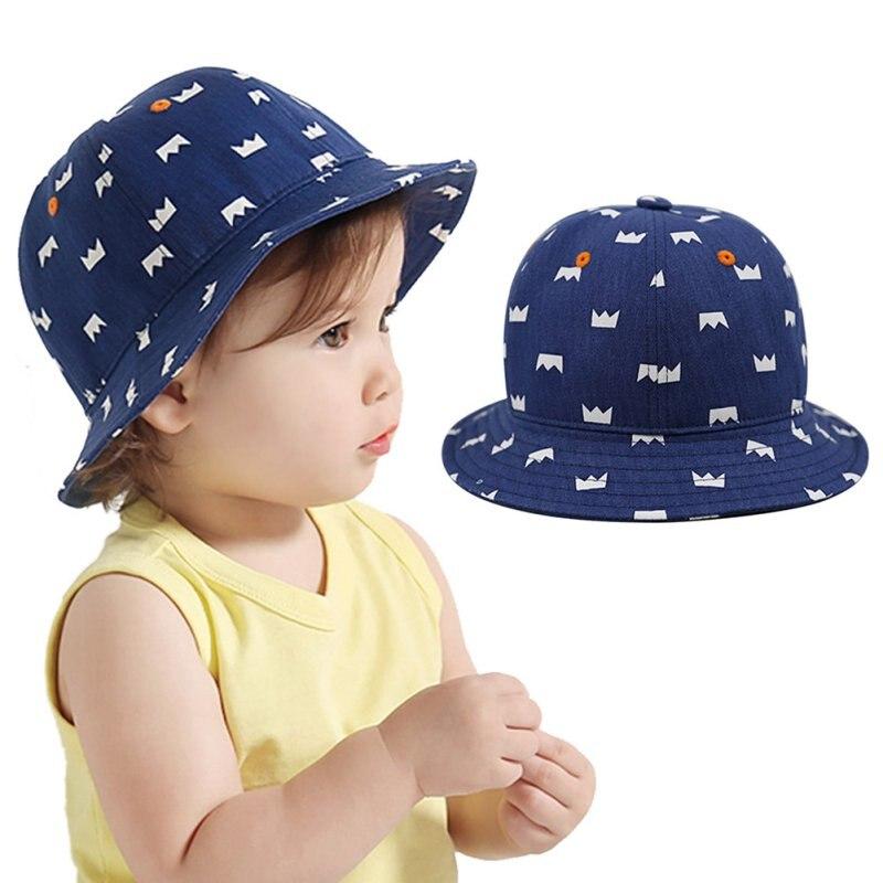 943113dae650 Enfant en bas âge Enfants Mignon Coton Couronne Imprimer Chapeau Bébé  Nouveau-Né Infantile Garçon Fille Cap Beanie 6-12 M LL2