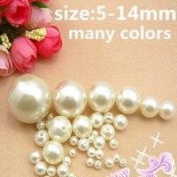 Ronda Resina Perlas 5-14mm Marfil ABS Imitación Perlas Sueltas Con Agujero Blanco Alto Brillo DIY Joyería Artesanal hacer Decoraciones