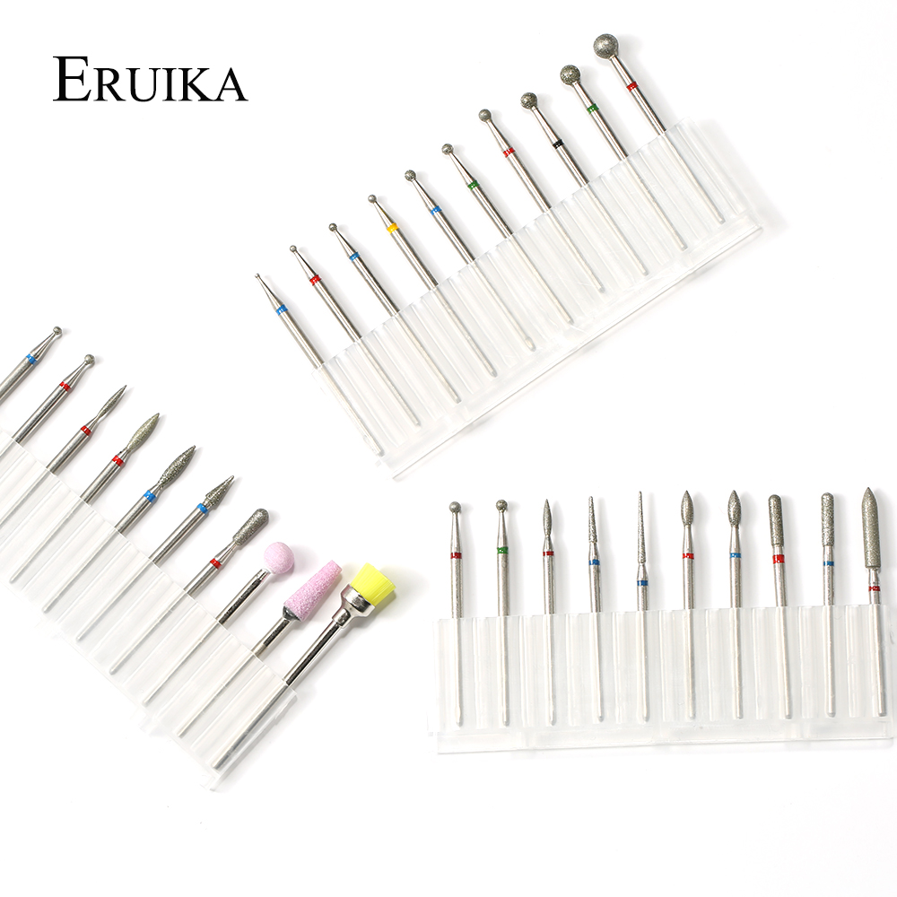 ERUIKA Diamond Nail Bits Electric Polishing Ceramic Nail Drill Bit Set Milling Cutter Cuticle Clean Manicure Pedicure File Tools