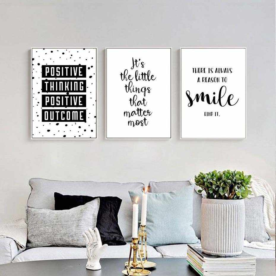 Black and White Inspirational Quote Positive Smile Canvas Painting Nursery Art Posters Prints Wall Pictures Kids Room Home Decor