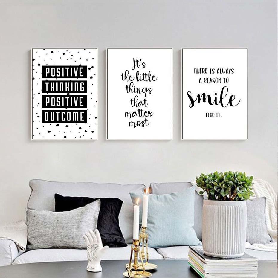 Black White Inspirational Quote Positive Smile Canvas