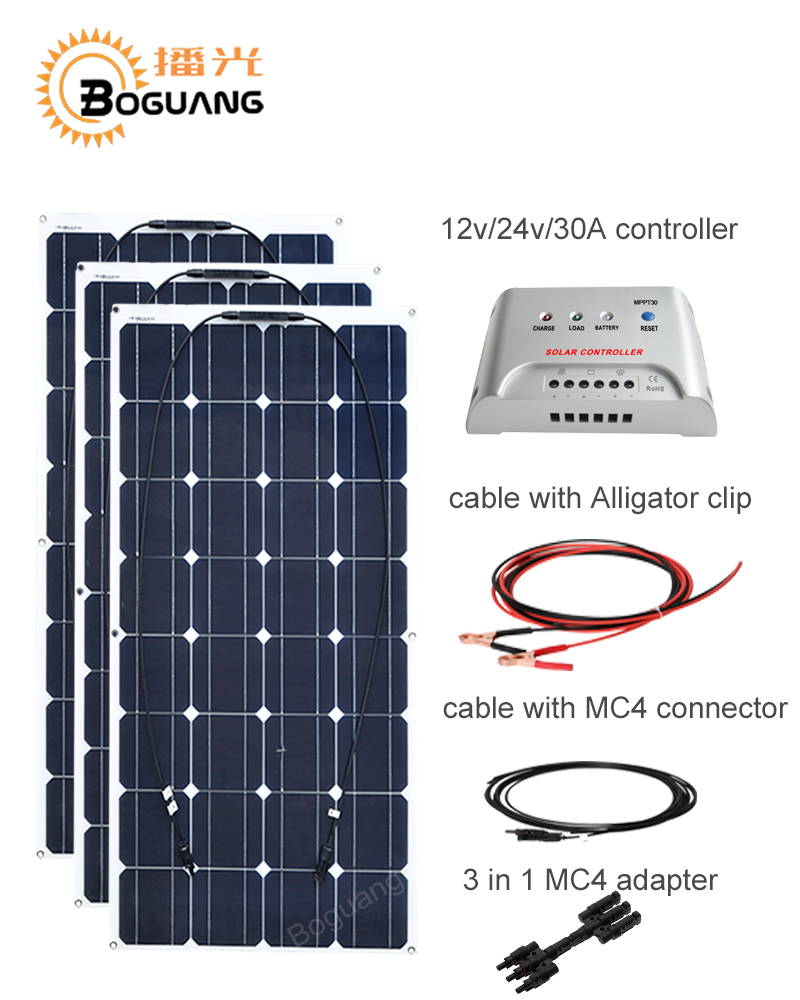 все цены на Boguang 100w Monocrystalline solar panel 300w DIY kit 30A MPPT controller cable adapter for 12v battery RV yacht  power charge онлайн