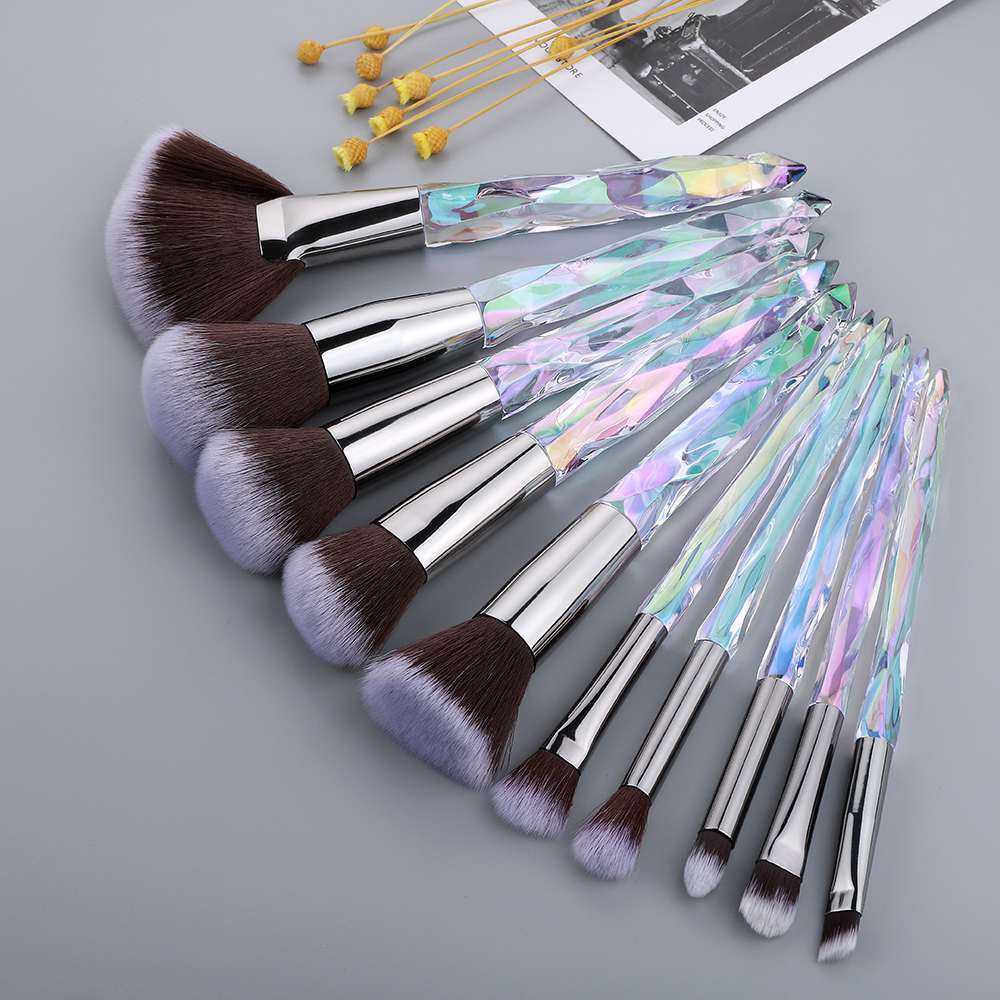 FLD 10Pcs Cristal Makeup Brushes Set Pó Fundação Fan Escova Da Sombra de Olho Corar Sobrancelha Profissional Ferramentas de Pincel de Maquiagem
