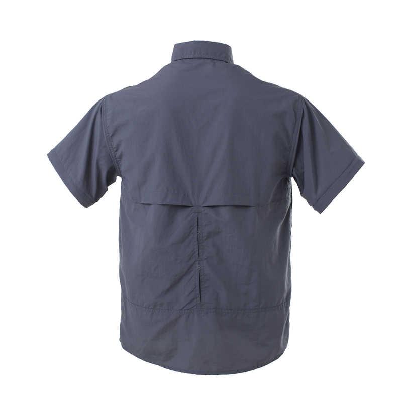 طويلة الأكمام انفصال قمصان قصيرة شبكة قميص الكاكي البضائع سريعة الجافة سفاري جيب مقاوم للماء الطيار موحدة عادي الرجال التكتيكية