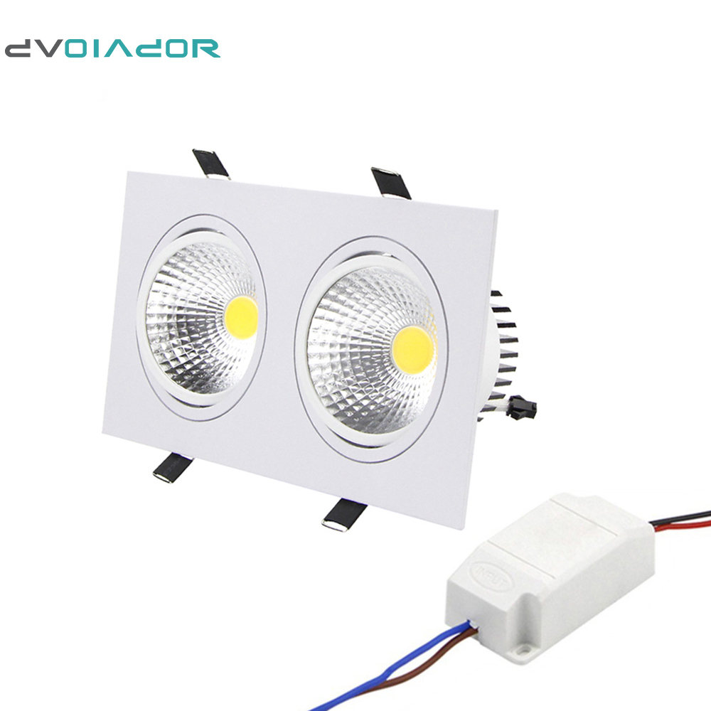 DVOLADOR Super Bright Recessed LED Downlight 10W 14W 18W 24W Dimmable 2 Head led Ceiling Recessed <font><b>Light</b></font> indoor Decoration <font><b>Light</b></font>