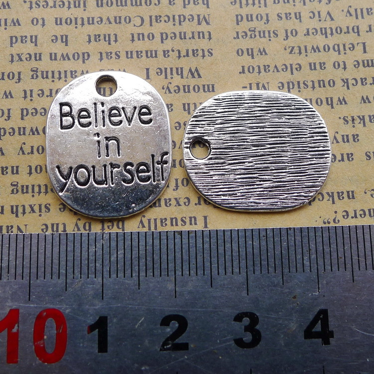100pcs believe in yourself lettering plate antique silver alloy Pendant charm Handmade earring bracelet necklace DIY 18*22mm image