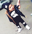 2016 novo Verão de Algodão infantil roupas de bebê conjuntos de roupas menino alfabeto Garfo padrão calças 2 pcs meninas roupas de manga curta T0032