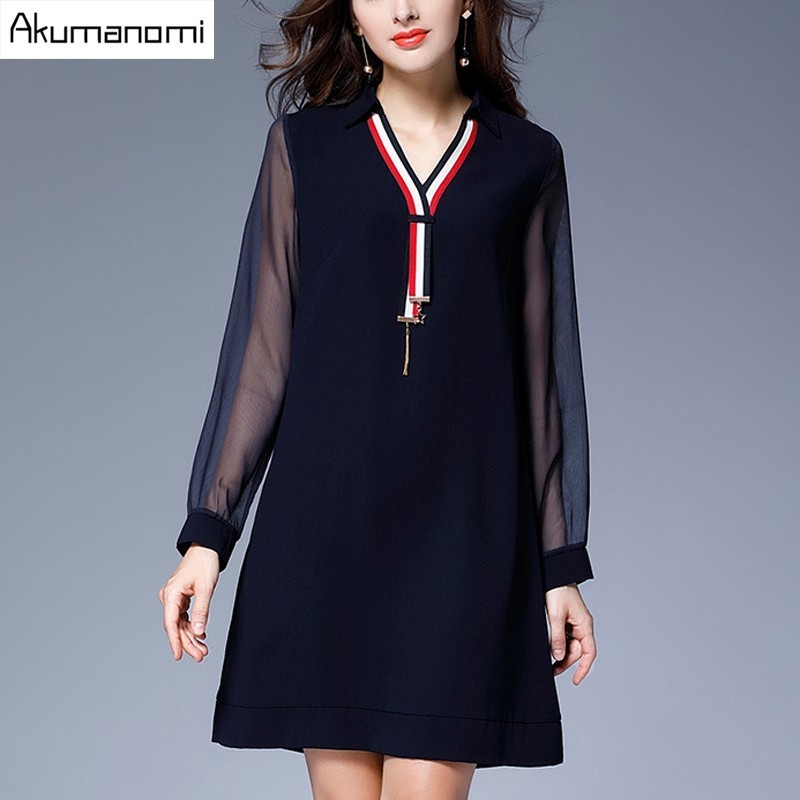 Autumn Winter Dress V neck font b Gauze b font Full Sleeve Patchwork Dark Blue font popular women's gauze clothing buy cheap women's gauze,B Gauze Womens Clothing