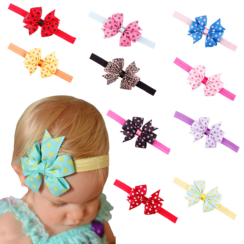 New Arrival styling tools Baby Dotted Ribbon Fish Tail Bowknot Hair Band Baby Headband for girl baby