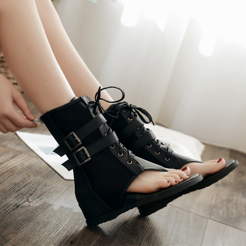 KEBEIORITY Sexy Black Women Flat Summer Boots 2018 Hot Zipper Women Shoes Open Toe Sandals Lace Up Ankle Boots Summer Shoes
