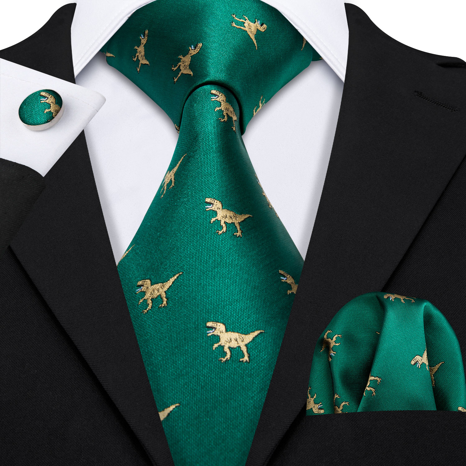 Barry.Wang Fahsion Designers Gold Dinosaur Green Mens Silk Ties Gravat Hanky Box Gifts Set Ties For Men Wedding Groom Neckties