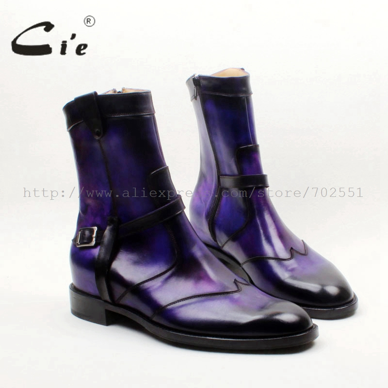 Cie Round Toe W-tips Zip Handmade Hand-painted Purple Patina100%Genuine Calf Leather Men's Boot Breathable Bottom Outsole A152